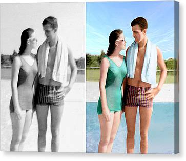 Restored/colorized 1959 Photo Canvas Print by Harry West