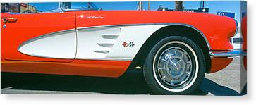 Restored Red 1959 Corvette, Fender Canvas Print by Panoramic Images