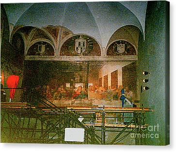 Canvas Print featuring the photograph Restoring Divinci's Last Supper - Milan, Utaly by Merton Allen