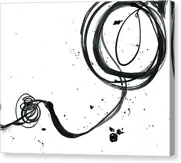 Resurface - Revolving Life Collection - Modern Abstract Black Ink Artwork Canvas Print