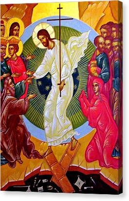 Resurrection And The Cross Canvas Print by Munir Alawi