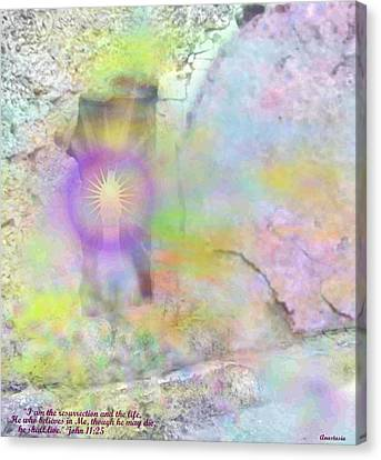 Canvas Print featuring the photograph Resurrection Moment Garden Tomb Vision With  Inspirational Verse  by Anastasia Savage Ealy