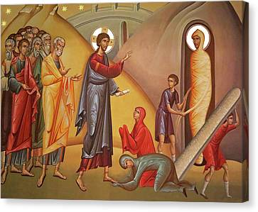 Canvas Print featuring the painting Resurrection Of Lazarus by Munir Alawi