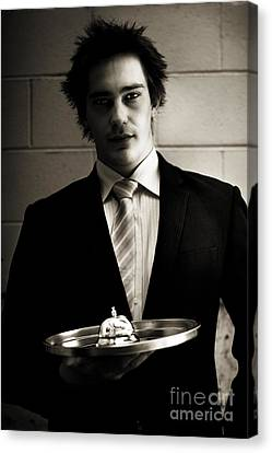 Retail Salesman Or Waiter Holding Service Bell Canvas Print