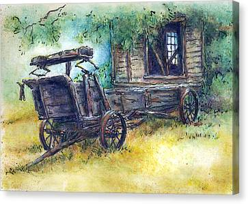 Old Shed Canvas Print - Retired At Last by Retta Stephenson