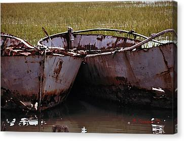 Retired Fishing Boats Canvas Print by Becky Sundeen