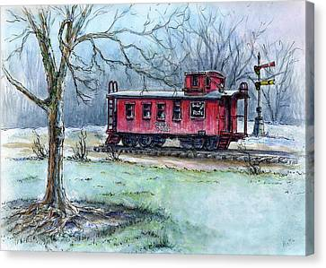 Retired Red Caboose Canvas Print by Retta Stephenson