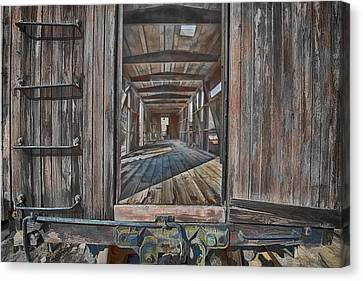 Canvas Print featuring the photograph Retired Train Car Jamestown by Steve Siri