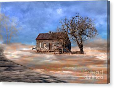 Log Cabin Art Canvas Print - Retirement Home by Larry Braun
