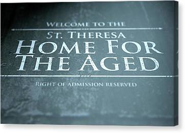 Old Home Place Canvas Print - Retirement Home Signage by Allan Swart