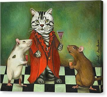 Red Cat Wine Canvas Print - Retirement by Leah Saulnier The Painting Maniac