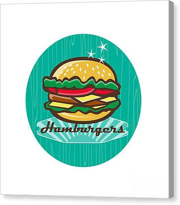 Hamburger Canvas Print - Retro 1950s Diner  Hamburger Circle  by Aloysius Patrimonio