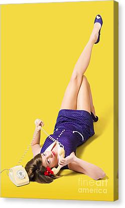 Retro 1950s Pinup Girl Chatting On Telephone Canvas Print