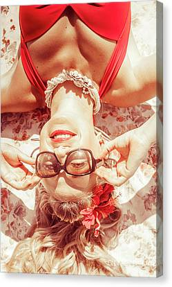 Hairstyle Canvas Print - Retro 50s Beach Pinup Girl by Jorgo Photography - Wall Art Gallery