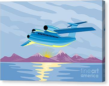 Retro Airliner Flying  Canvas Print by Aloysius Patrimonio