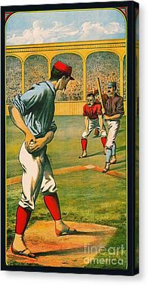Retro Baseball Game Ad 1885 A Crop Canvas Print by Padre Art