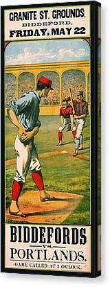 Retro Baseball Game Ad 1885 A Canvas Print by Padre Art