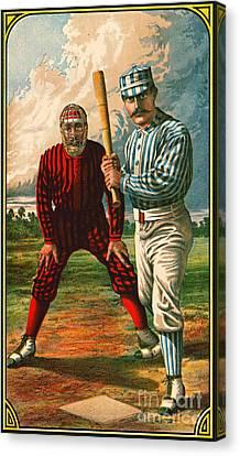 Retro Baseball Game Ad 1885 B Crop Canvas Print by Padre Art