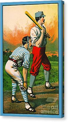 Retro Baseball Game Ad 1885 C Crop Canvas Print by Padre Art