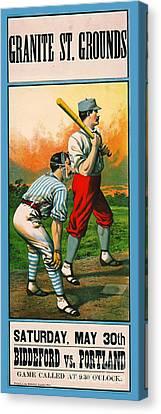 Retro Baseball Game Ad 1885 C Canvas Print by Padre Art