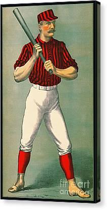 Retro Baseball Game Ad 1885 Crop Canvas Print by Padre Art