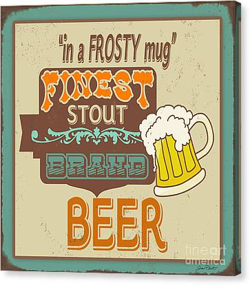 Frosty Mug Canvas Print - Retro Beer Sign-jp2917 by Jean Plout