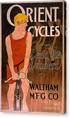 Canvas Print featuring the photograph Retro Bicycle Ad 1890 by Padre Art