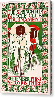 Canvas Print featuring the photograph Retro Bicycle Poster 1895 by Padre Art