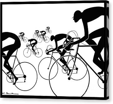 Canvas Print featuring the photograph Retro Bicycle Silhouettes 1986 by Padre Art