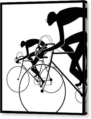 Canvas Print featuring the photograph Retro Bicycle Silhouettes 2 1986 by Padre Art