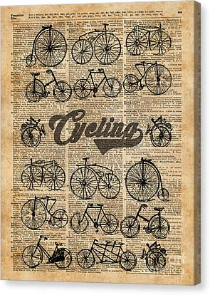 Collage Tapestries - Textiles Canvas Print - Retro Bicycles Vintage Illustration Dictionary Art by Jacob Kuch