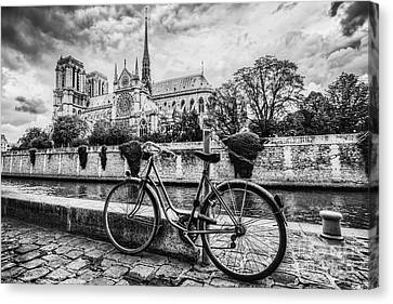 Retro Bike Next To Notre Dame Cathedral In Paris, France. Black And White Canvas Print by Michal Bednarek