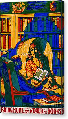 Canvas Print featuring the photograph Retro Books Poster 1920 by Padre Art