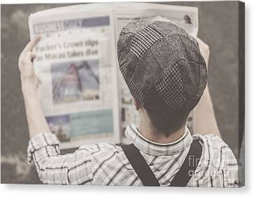 Edition Canvas Print - Retro Business Man Reading Bygone News by Jorgo Photography - Wall Art Gallery