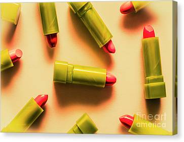 Retro Cosmetic Lipstick Background Canvas Print by Jorgo Photography - Wall Art Gallery