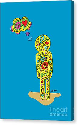 Retro Design Hippy Design 60s And 70s A Hippy  Canvas Print by Paul Telling