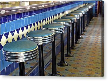 Old Diner Bar Stools Canvas Print - Retro Diner Stools by Maria Dryfhout