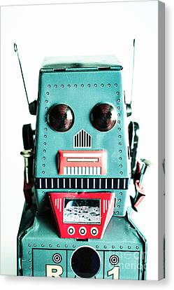 Retro Eighties Blue Robot Canvas Print by Jorgo Photography - Wall Art Gallery