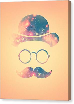 Retro Face With Moustache And Glasses  Universe  Galaxy Hipster In Gold Canvas Print