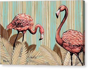 Retro Flamingo Canvas Print by Paul Brent