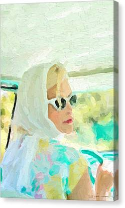 Canvas Print featuring the digital art Retro Girl - Road Trip No.1 by Serge Averbukh