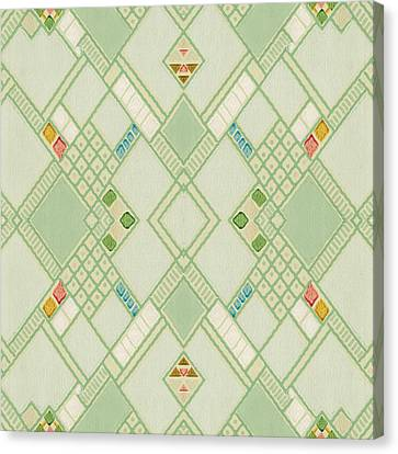 Canvas Print featuring the digital art Retro Green Diamond Tile Vintage Wallpaper Pattern by Tracie Kaska