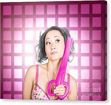 Retro Hairdresser Holding Big Pair Of Scissors Canvas Print by Jorgo Photography - Wall Art Gallery