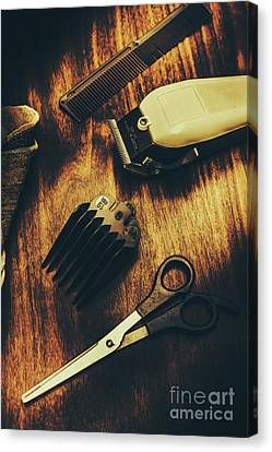 Retro Hairdressing Objects Canvas Print