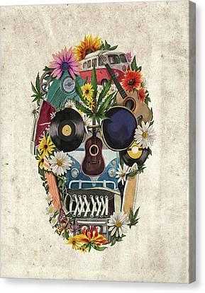 Retro Hippie Skull Canvas Print by Bekim Art