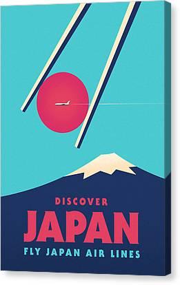 Retro Japan Mt Fuji Tourism V1 Canvas Print by Ivan Krpan