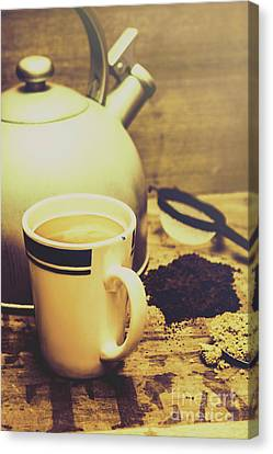 Retro Kettle With The Mug Of Tea Canvas Print by Jorgo Photography - Wall Art Gallery