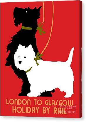 Scottish Dog Canvas Print - Retro London And Glasgow By Train, Dogs Terriers  by Heidi De Leeuw