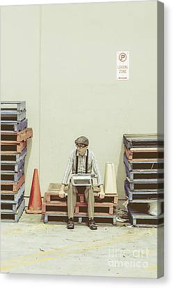 Pallet Canvas Print - Retro Man Dreaming Up Literary Ideas by Jorgo Photography - Wall Art Gallery