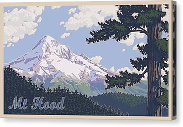 Retro Mount Hood Canvas Print by Mitch Frey